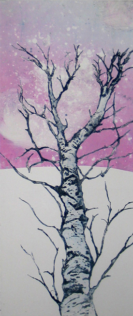 powder winter tree print monoprint leni fried
