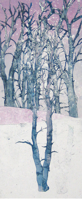 wintry mix winter tree monoprint fine art leni fried