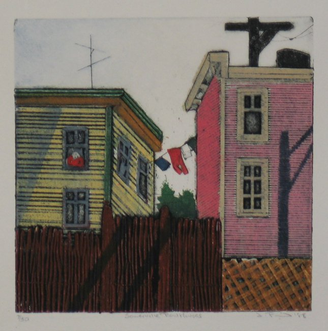 sommerville row houses print by leni fried